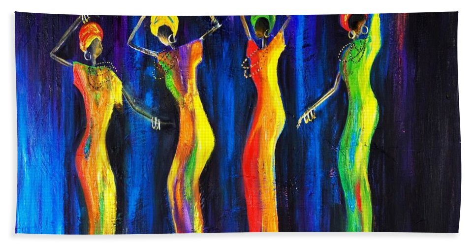Women Paintings Hand Towel featuring the painting Womens Day Celebration In South Africa by Marietjie Henning