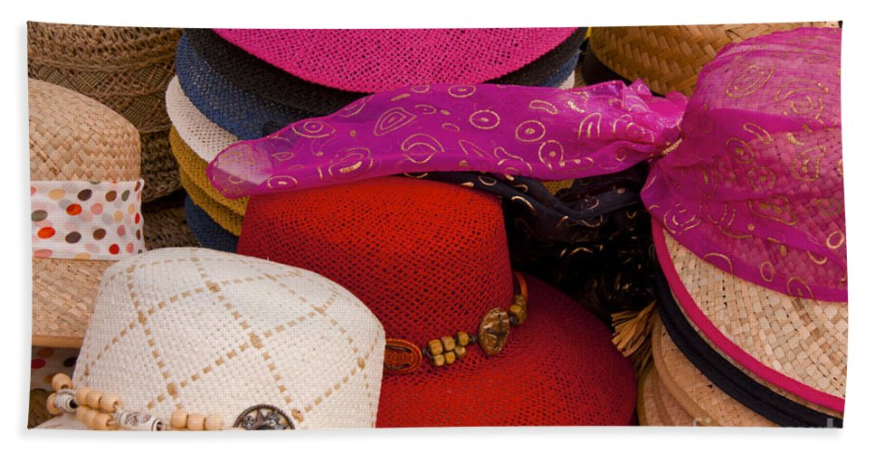 Market Day Apt Markets Hat Hats Still Life Shop Shops Store Stores Provence Bath Sheet featuring the photograph Women's Hats by Bob Phillips