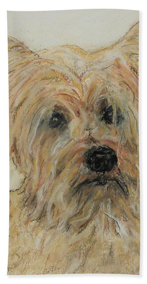 Terrier Hand Towel featuring the drawing Wonder-ful by Cori Solomon