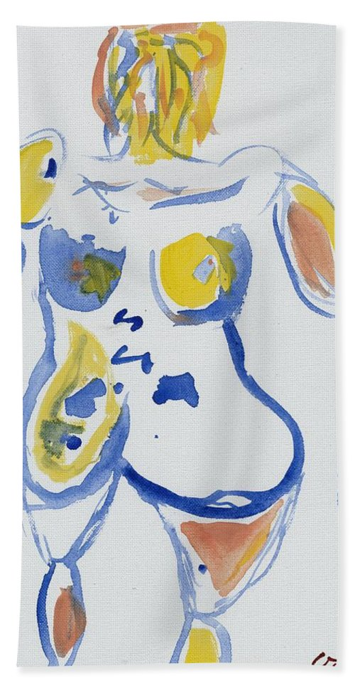 Nude Hand Towel featuring the painting Wondering Amy by Gustav Martin
