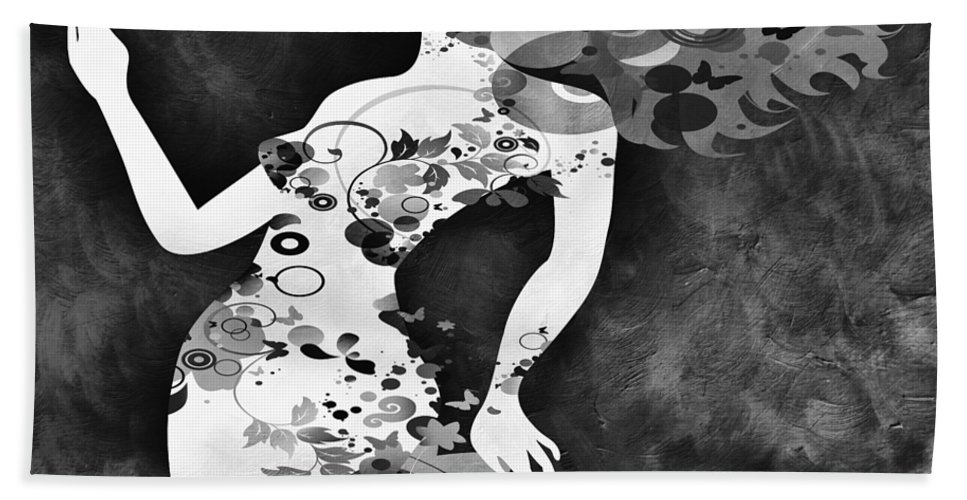 Amaze Bath Sheet featuring the mixed media Wondering Bw by Angelina Vick