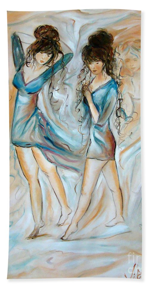 Contemporary Art Bath Sheet featuring the painting Wondering by Silvana Abel