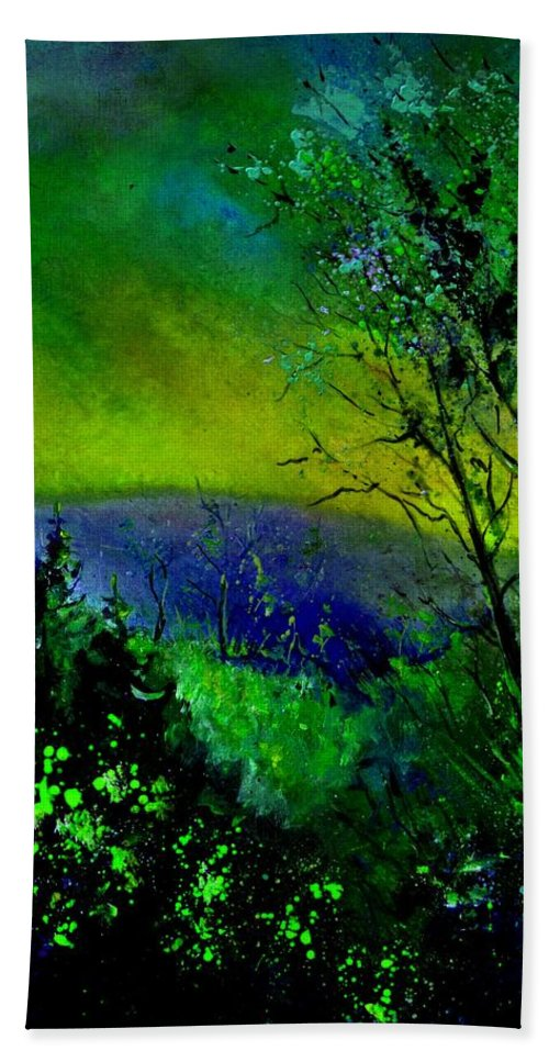 Wood Hand Towel featuring the painting Wood 957 by Pol Ledent