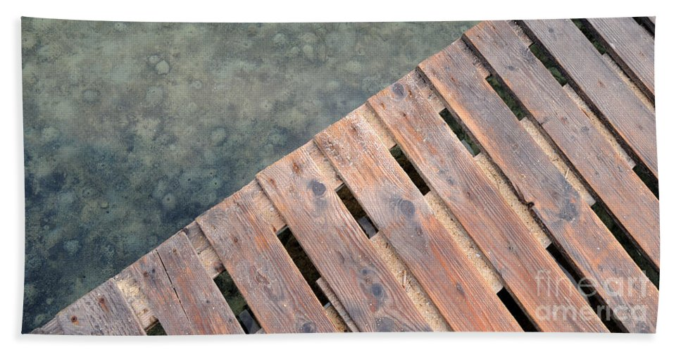 Sea Hand Towel featuring the photograph Wood And Sea by Grigorios Moraitis