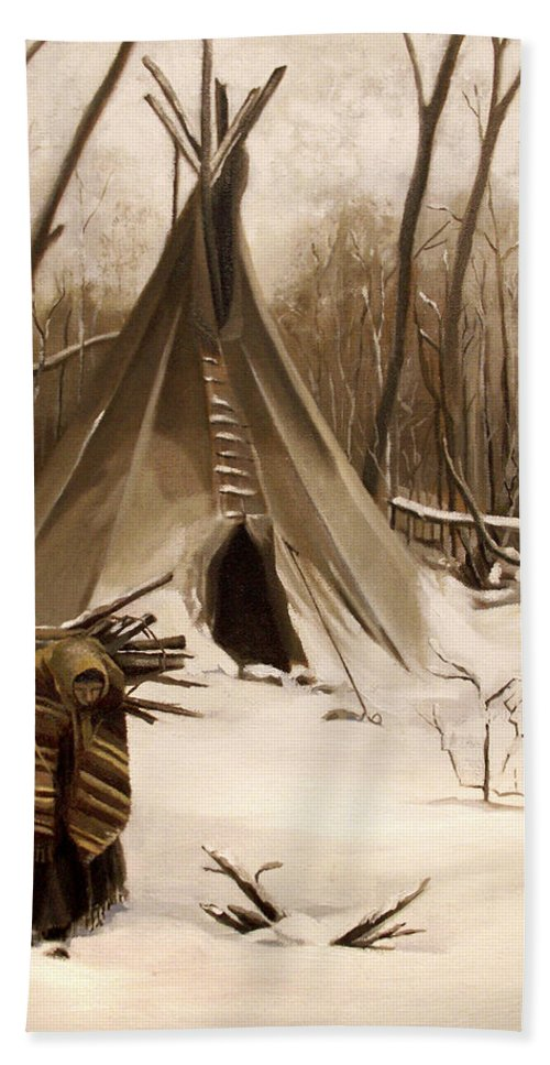 Native American Hand Towel featuring the painting Wood Gatherer by Nancy Griswold