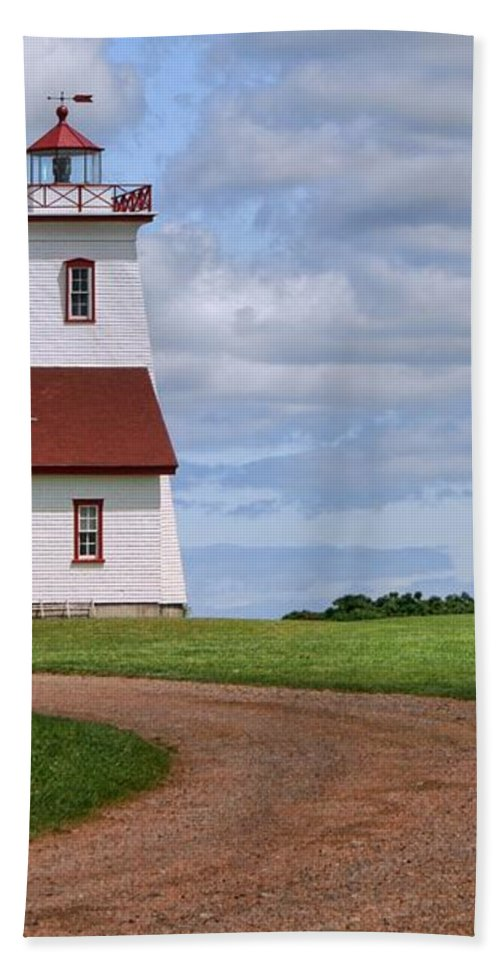 Wood Islands Lighthouse Hand Towel featuring the photograph Wood Islands Lighthouse - Pei by Nikolyn McDonald