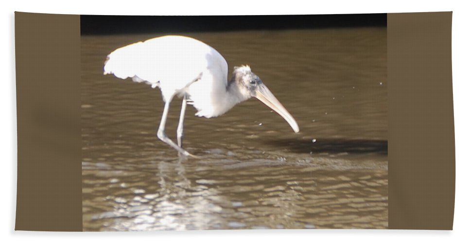 Fishing Alone Hand Towel featuring the photograph Wood Stork by Robert Floyd