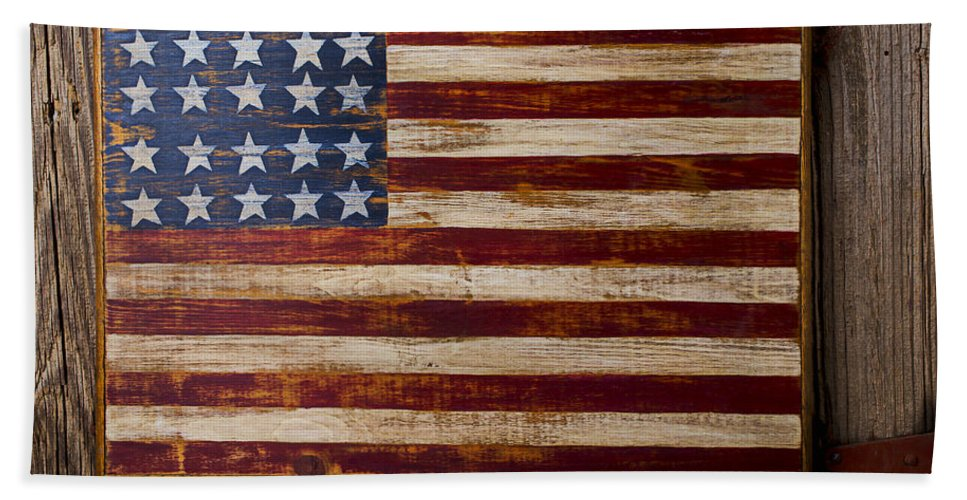 Wooden Bath Towel featuring the photograph Wooden American Flag On Wood Wall by Garry Gay