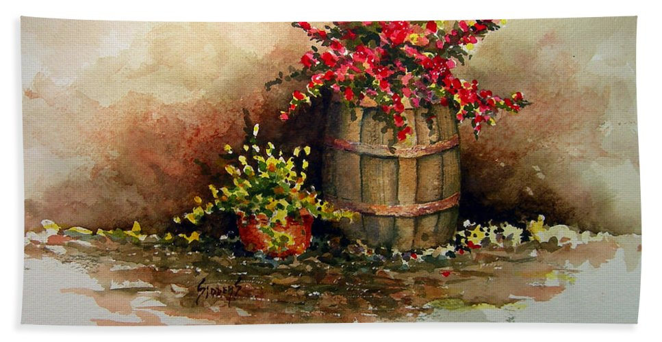 Barrel Bath Towel featuring the painting Wooden Barrel with Flowers by Sam Sidders