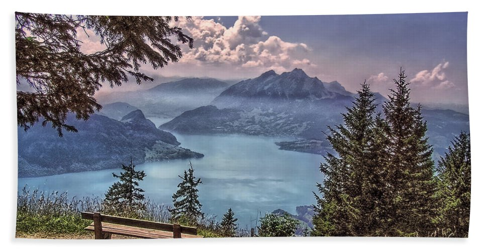 Switzerland Hand Towel featuring the photograph Wooden Bench by Hanny Heim