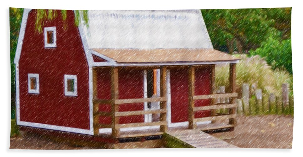 Red Hand Towel featuring the painting Wooden Cabin by Jeelan Clark