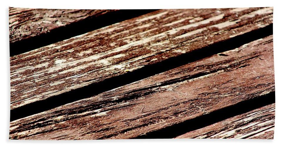 Wood Timber Brown Deck Porch Veranda Grain Diagonal Flaking Bath Sheet featuring the photograph Wooden Deck by Guy Pettingell