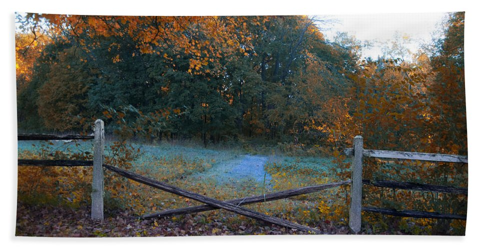 Wooden Hand Towel featuring the photograph Wooden Fence In Autumn by Bill Cannon