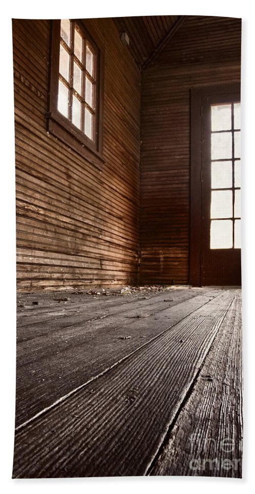 Floor; Wood; Wooden; Old; Dirty; Holes; Dark; Darkness; Leading; Horror; Mystery; Mysterious; Unknown; House; Home; Empty; No One; Planks; Door; Doorway; Window Bath Sheet featuring the photograph Wooden House by Margie Hurwich