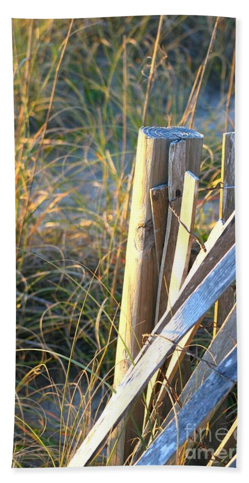 Post Bath Sheet featuring the photograph Wooden Post And Fence At The Beach by Nadine Rippelmeyer