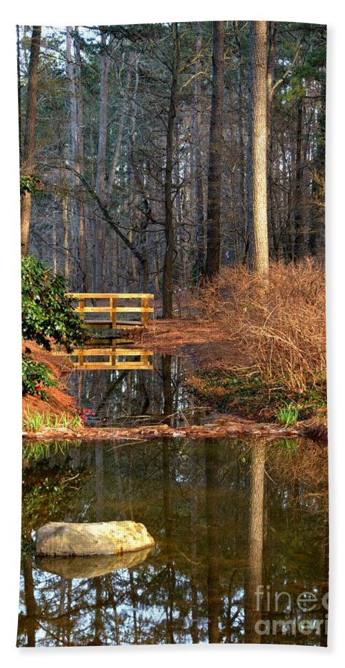 Woodland Bridge 2014 Hand Towel featuring the photograph Woodland Bridge 2014 by Maria Urso