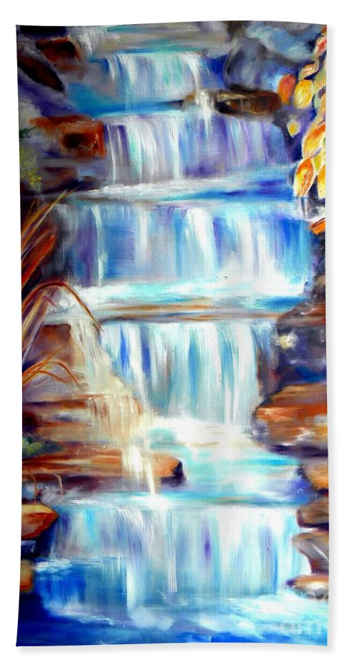 Waterfall Bath Sheet featuring the painting Woodland Oasis by Sandy Ryan