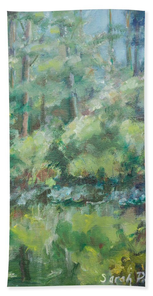 Woods Bath Sheet featuring the painting Woodland Pond by Sarah Parks