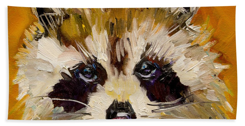 Racoon Bath Sheet featuring the painting Woodland Racoon by Diane Whitehead