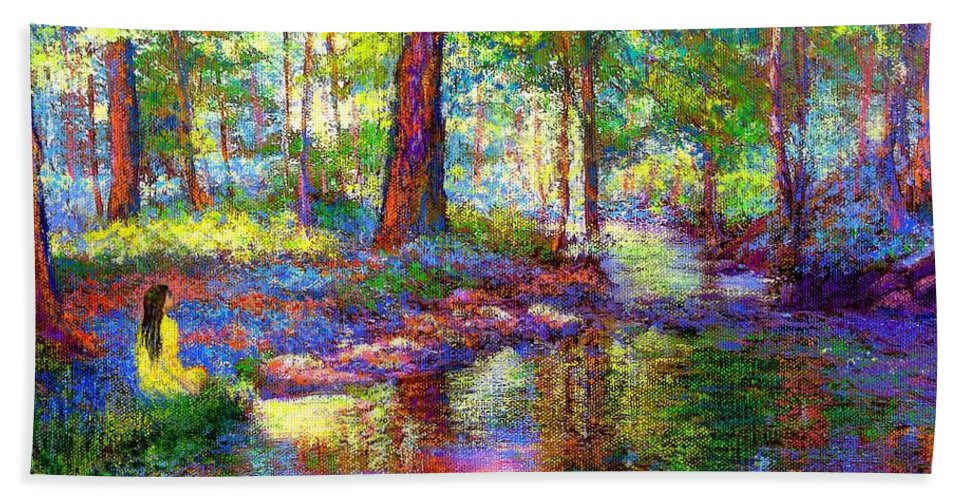 Forest Hand Towel featuring the painting Woodland Rapture by Jane Small