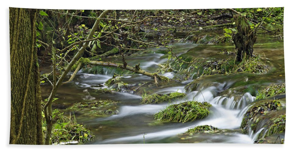 Derbyshire Hand Towel featuring the photograph Woodland Stream - Monk's Dale by Rod Johnson
