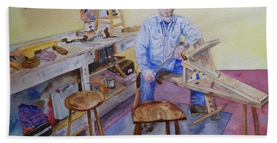 Woodworker Bath Sheet featuring the painting Woodworker Chair Maker by Anna Ruzsan