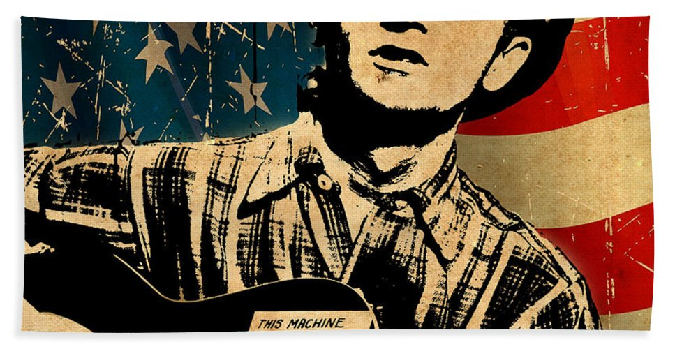 Guthrie Hand Towel featuring the photograph Woody Guthrie 1 by Andrew Fare