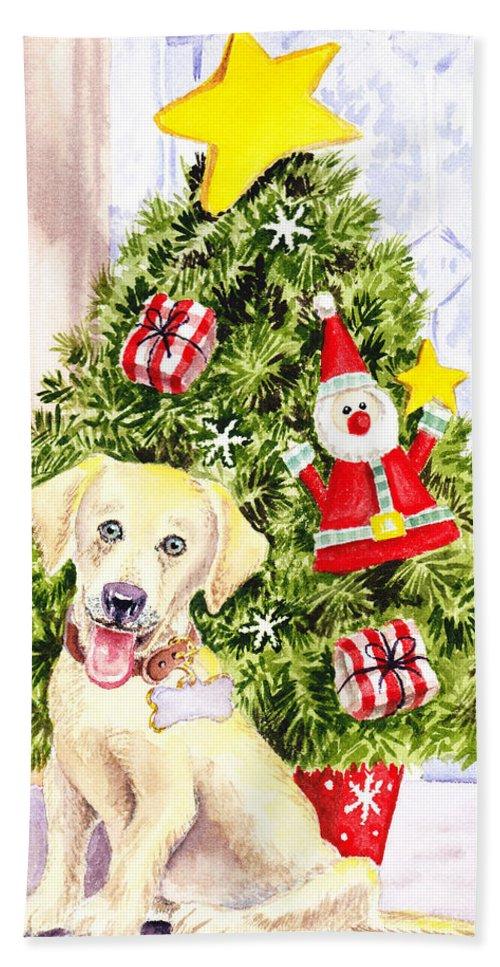 Christmas Bath Sheet featuring the painting Woof Merry Christmas by Irina Sztukowski