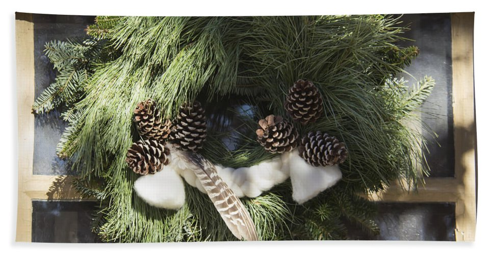 Colonial Hand Towel featuring the photograph Wool And Feather Wreath by Teresa Mucha