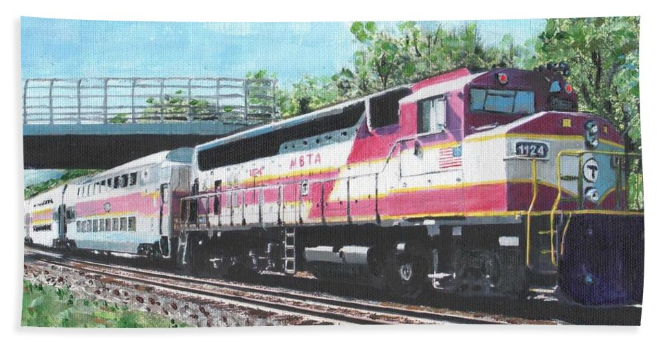 Mbta Bath Sheet featuring the painting Worcester Bound T Train by Cliff Wilson