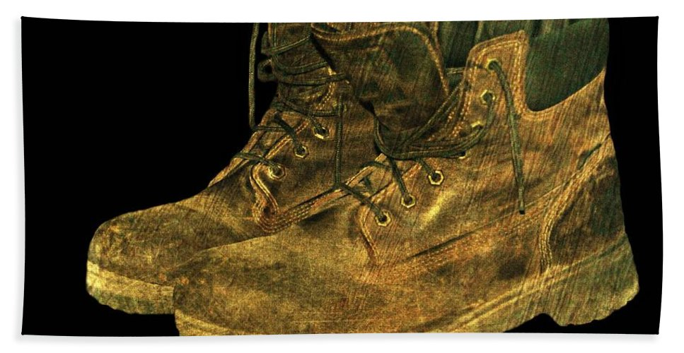 Boots Hand Towel featuring the photograph Work Boots by Diana Angstadt
