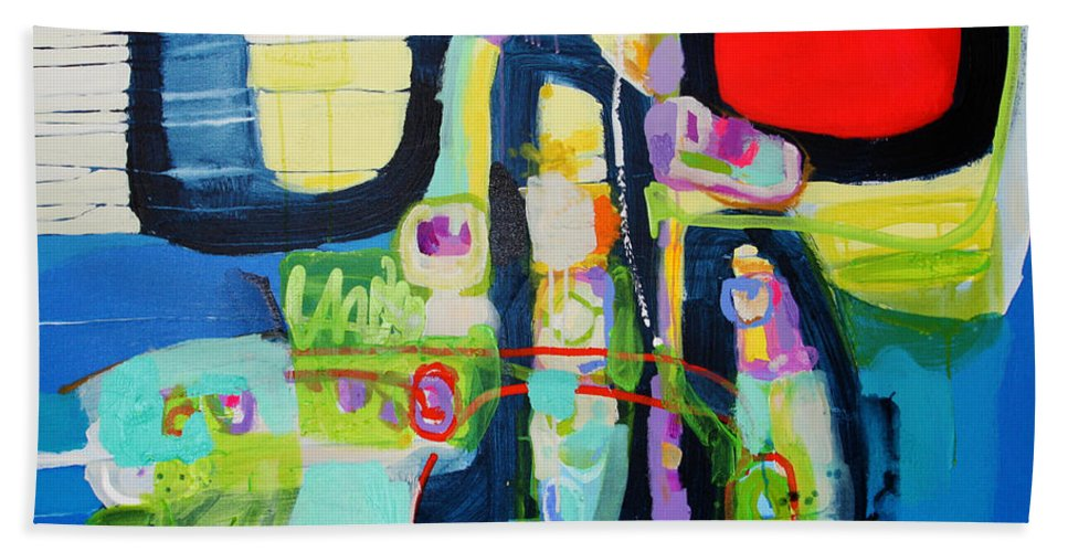 Abstract Bath Towel featuring the painting Work It Out by Claire Desjardins