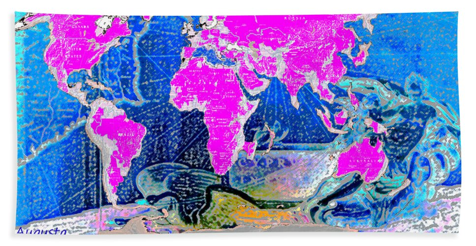 Augusta Stylianou Bath Sheet featuring the digital art World Map And Aphrodite by Augusta Stylianou