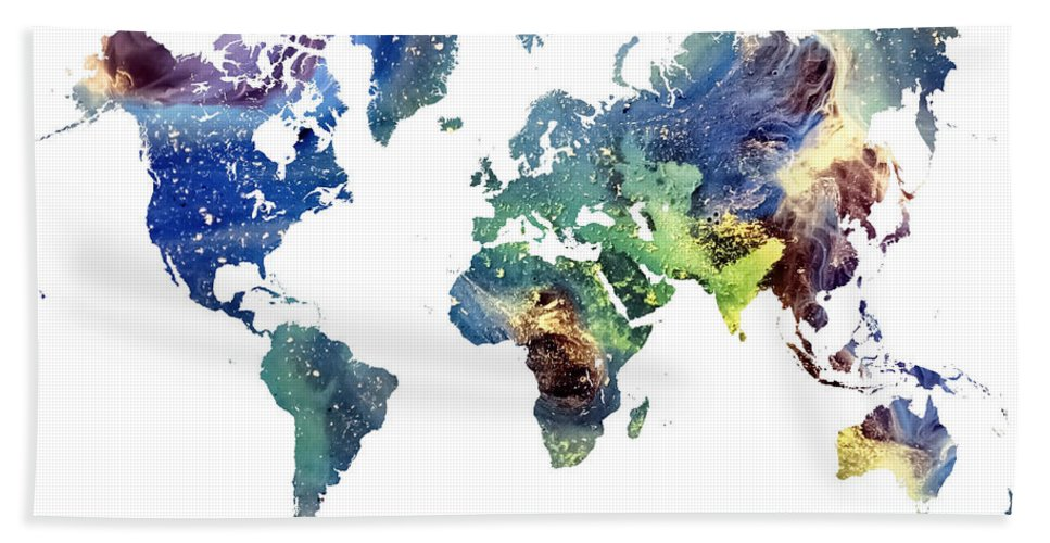 Map Of The World Bath Sheet featuring the painting World Map Cosmos by Justyna JBJart