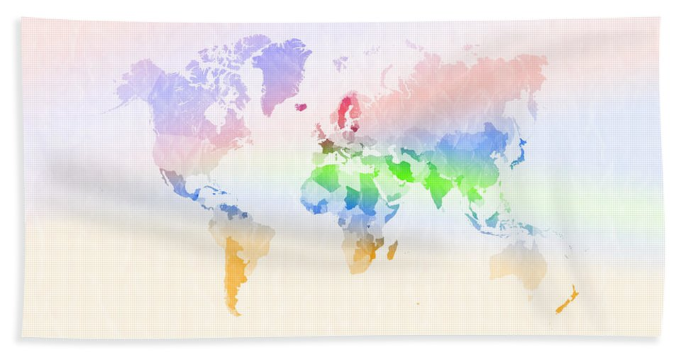 Digital Hand Towel featuring the digital art World Map Crumpled Multi-coloured by Hakon Soreide