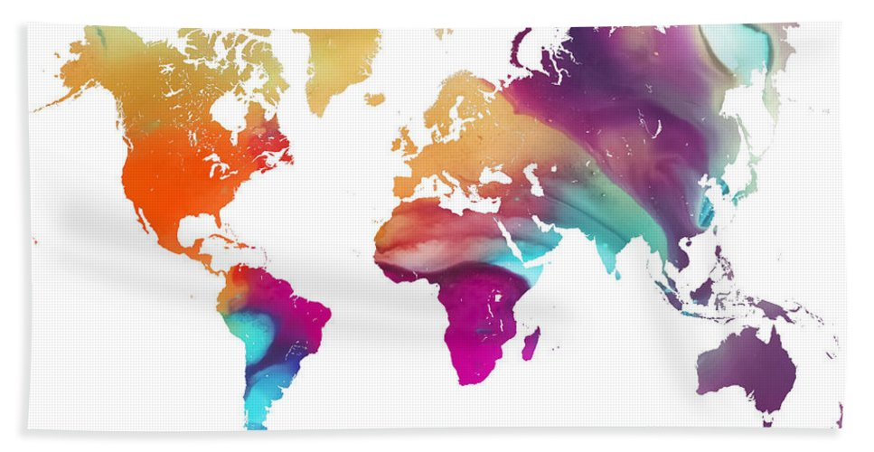 Map Of The World Bath Sheet featuring the painting World Map Watercolor by Justyna JBJart