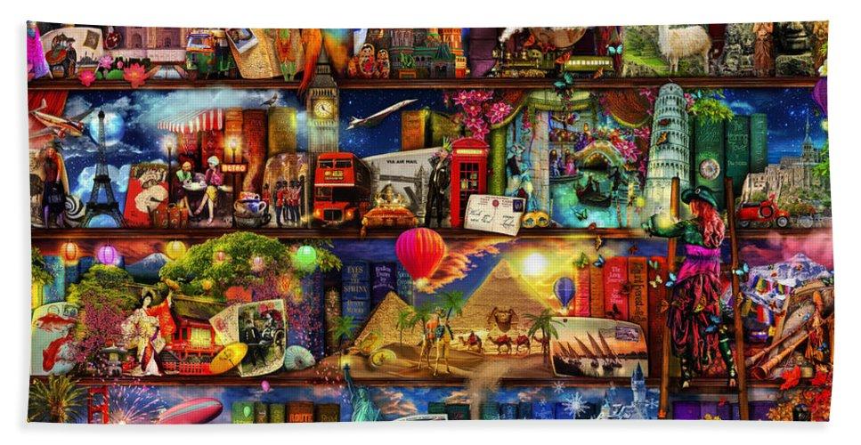 World Map Bath Towel featuring the digital art World Travel Book Shelf by MGL Meiklejohn Graphics Licensing