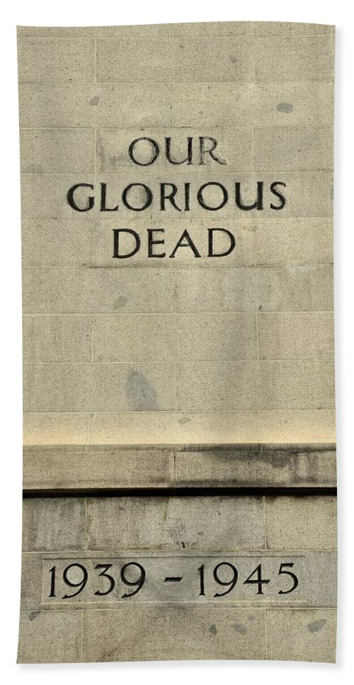 Singapore Bath Sheet featuring the photograph World War Two Our Glorious Dead Cenotaph by Imran Ahmed