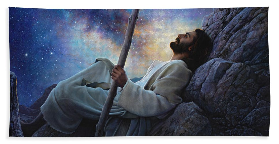 Jesus Bath Towel featuring the painting Worlds Without End by Greg Olsen