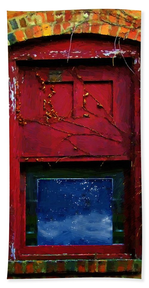 Architecture Hand Towel featuring the painting Wormhole Window by RC DeWinter
