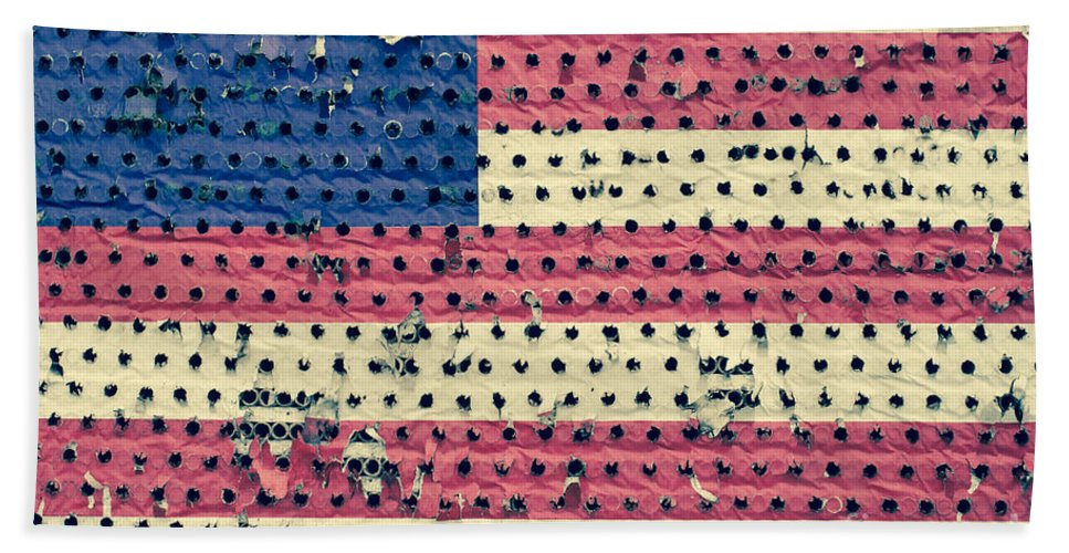 4th Of July Hand Towel featuring the photograph Worn Out American Flag by Jim Corwin