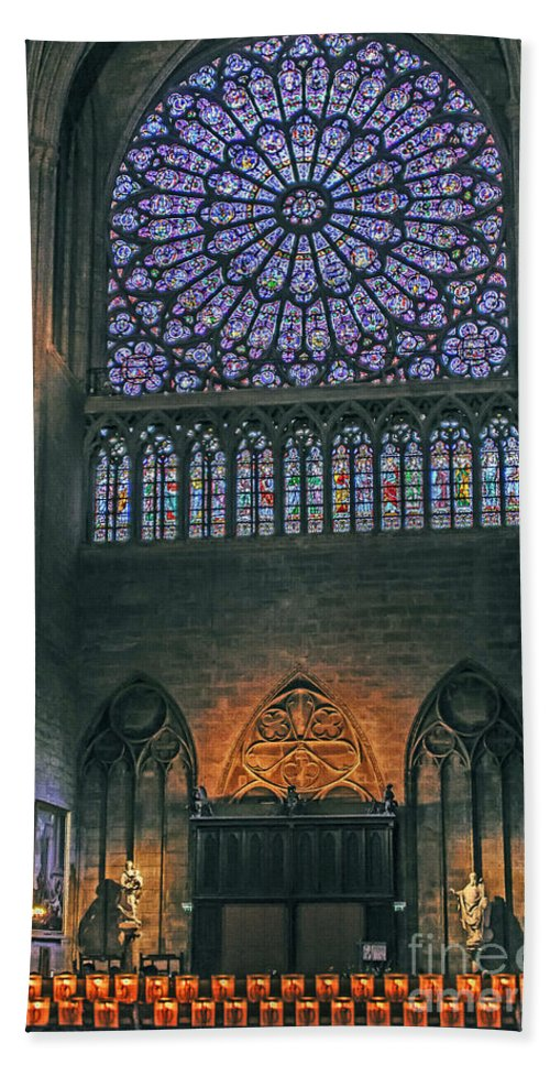 Travel Hand Towel featuring the photograph Worship In Notre Dame by Elvis Vaughn