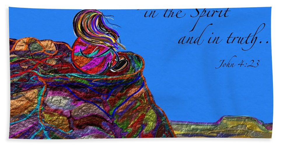 Scripture Hand Towel featuring the painting Worship The Father by Marie Clark