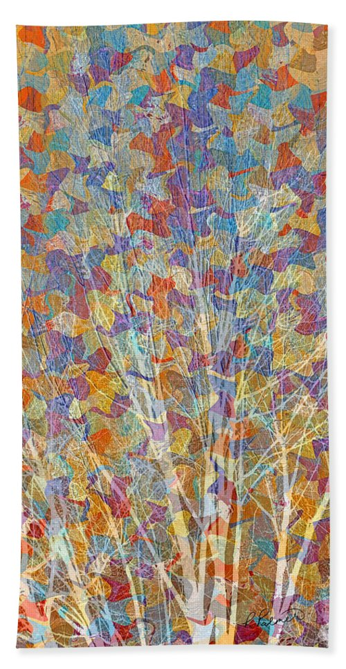 Abstract Hand Towel featuring the mixed media Woven Branches Long by Ruth Palmer