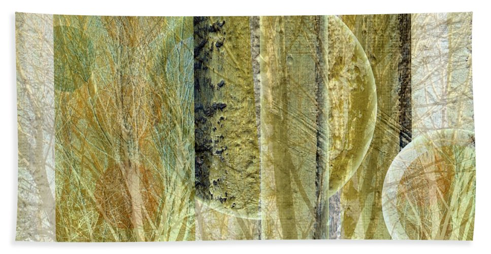 Abstract Hand Towel featuring the mixed media Woven Branches by Ruth Palmer