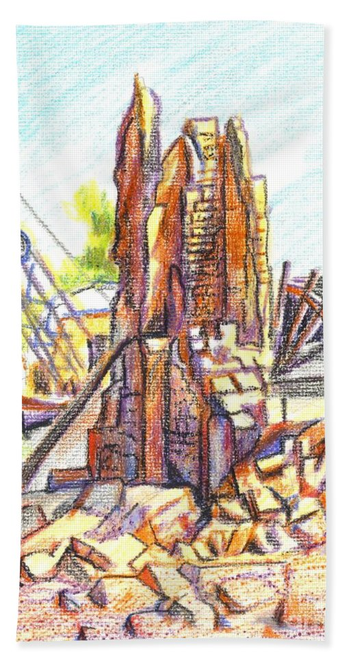 Wrecking Ball Hand Towel featuring the painting Wrecking Ball by Kip DeVore