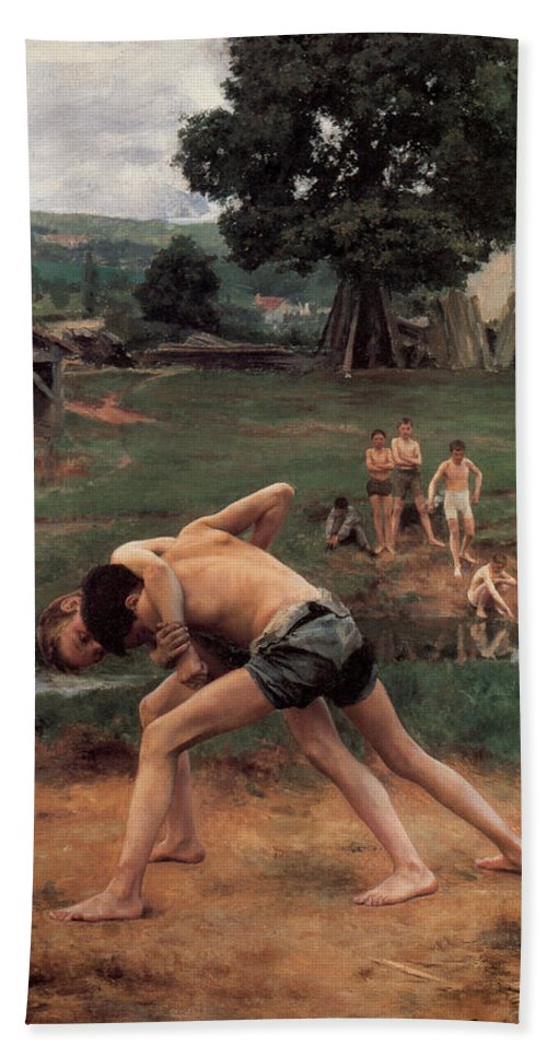 Wrestling Hand Towel featuring the digital art Wrestling by Emile Friant
