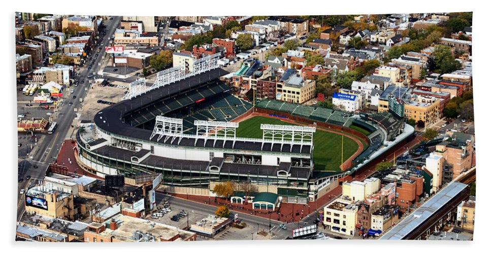 Chicago Cubs Bath Sheet featuring the photograph Wrigley Field Chicago Sports 01 by Thomas Woolworth