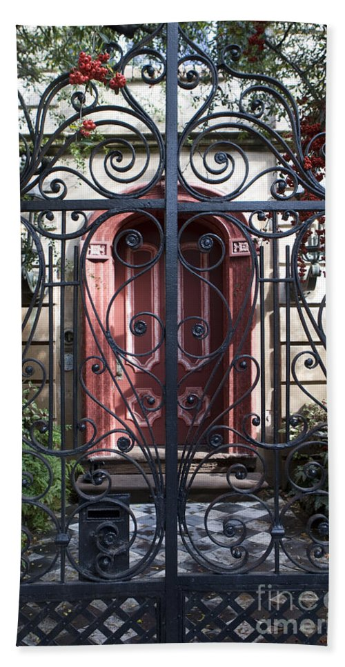 Wrought Iron Hand Towel featuring the photograph Wrought Iron Gate And Red Door Charleston South Carolina by Jason O Watson