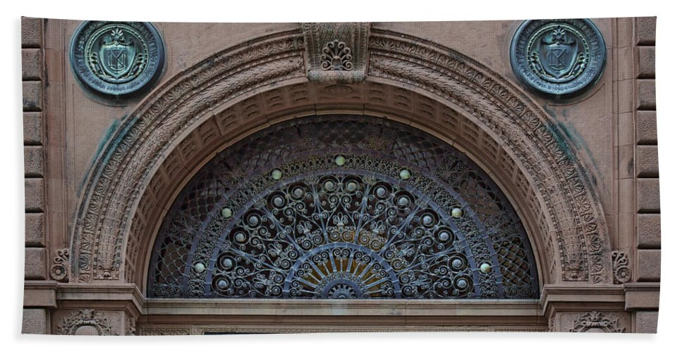 Wrought Iron Grille Bath Sheet featuring the photograph Wrought Iron Grille - The Omaha Building by Nikolyn McDonald